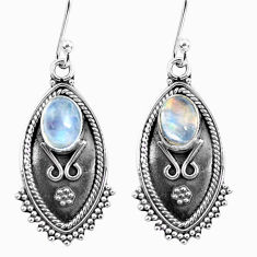 Clearance Sale- 4.28cts natural rainbow moonstone 925 sterling silver dangle earrings d32496