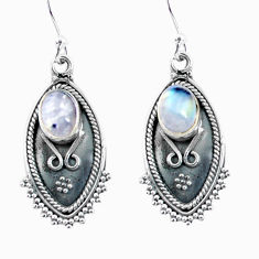 Clearance Sale- 4.02cts natural rainbow moonstone 925 sterling silver dangle earrings d32500