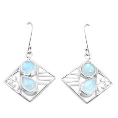 7.51cts natural rainbow moonstone 925 sterling silver dangle earrings p32518