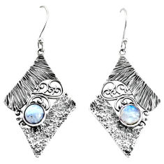 2.24cts natural rainbow moonstone 925 sterling silver dangle earrings p34381