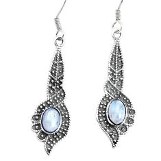 3.42cts natural rainbow moonstone 925 sterling silver dangle earrings p34473