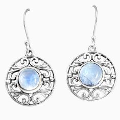 5.34cts natural rainbow moonstone 925 sterling silver dangle earrings p34487