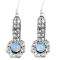 2.68cts natural rainbow moonstone 925 sterling silver dangle earrings p39232