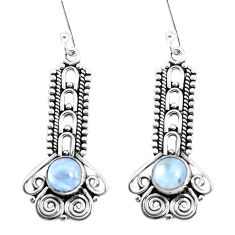 2.92cts natural rainbow moonstone 925 sterling silver dangle earrings p39334
