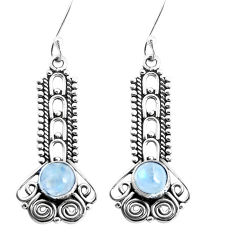 2.93cts natural rainbow moonstone 925 sterling silver dangle earrings p39336