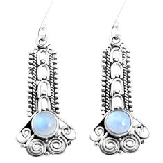 2.93cts natural rainbow moonstone 925 sterling silver dangle earrings p39339