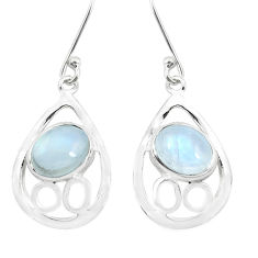 6.82cts natural rainbow moonstone 925 sterling silver dangle earrings p40197