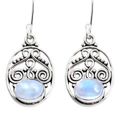 4.68cts natural rainbow moonstone 925 sterling silver dangle earrings p41418