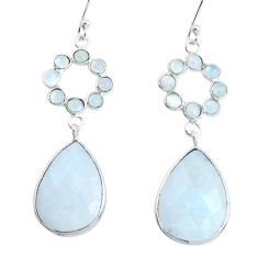 17.35cts natural rainbow moonstone 925 sterling silver dangle earrings p43599