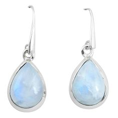 12.06cts natural rainbow moonstone 925 sterling silver dangle earrings p50957