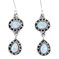 6.54cts natural rainbow moonstone 925 sterling silver dangle earrings p51559