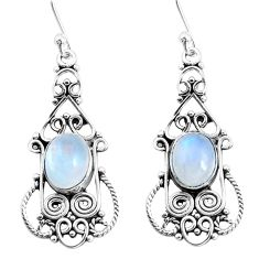 6.56cts natural rainbow moonstone 925 sterling silver dangle earrings p51943