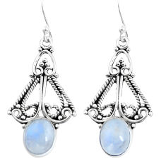 7.04cts natural rainbow moonstone 925 sterling silver dangle earrings p51955
