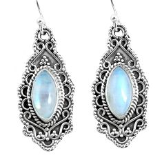 9.72cts natural rainbow moonstone 925 sterling silver dangle earrings p52757