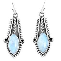 10.24cts natural rainbow moonstone 925 sterling silver dangle earrings p52820
