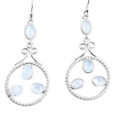 8.11cts natural rainbow moonstone 925 sterling silver dangle earrings p56933