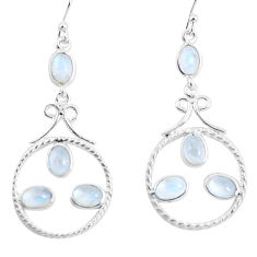 8.10cts natural rainbow moonstone 925 sterling silver dangle earrings p56934