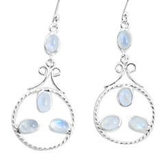 8.77cts natural rainbow moonstone 925 sterling silver dangle earrings p56936