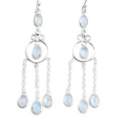 10.05cts natural rainbow moonstone 925 sterling silver dangle earrings p56978