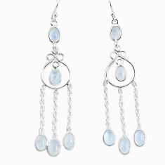9.56cts natural rainbow moonstone 925 sterling silver dangle earrings p56980