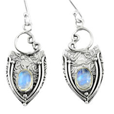 3.52cts natural rainbow moonstone 925 sterling silver dangle earrings p57617