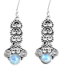 2.68cts natural rainbow moonstone 925 sterling silver dangle earrings p58142