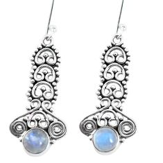 2.65cts natural rainbow moonstone 925 sterling silver dangle earrings p58144