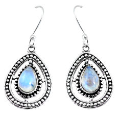 5.52cts natural rainbow moonstone 925 sterling silver dangle earrings p58151