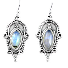 10.24cts natural rainbow moonstone 925 sterling silver dangle earrings p58199