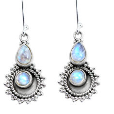 5.79cts natural rainbow moonstone 925 sterling silver dangle earrings p58226