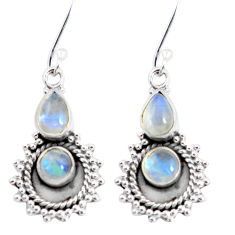 6.03cts natural rainbow moonstone 925 sterling silver dangle earrings p58228