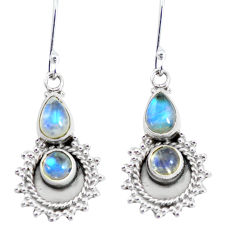 6.03cts natural rainbow moonstone 925 sterling silver dangle earrings p58229