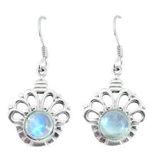 5.75cts natural rainbow moonstone 925 sterling silver dangle earrings p58239