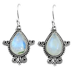9.42cts natural rainbow moonstone 925 sterling silver dangle earrings p58276