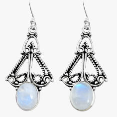 6.53cts natural rainbow moonstone 925 sterling silver dangle earrings p58326