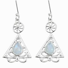 3.51cts natural rainbow moonstone 925 sterling silver dangle earrings p58380