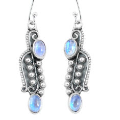 4.47cts natural rainbow moonstone 925 sterling silver dangle earrings p59977