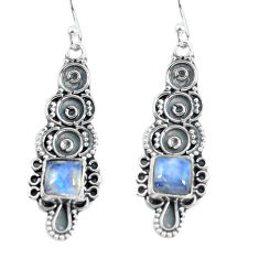 4.82cts natural rainbow moonstone 925 sterling silver dangle earrings p60017