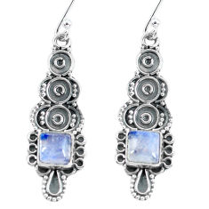 4.82cts natural rainbow moonstone 925 sterling silver dangle earrings p60019