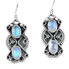 4.22cts natural rainbow moonstone 925 sterling silver dangle earrings p60039