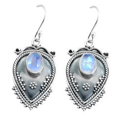 3.52cts natural rainbow moonstone 925 sterling silver dangle earrings p60099