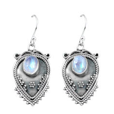 3.53cts natural rainbow moonstone 925 sterling silver dangle earrings p60100