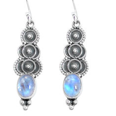 4.18cts natural rainbow moonstone 925 sterling silver dangle earrings p60120