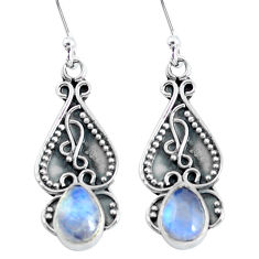 2.96cts natural rainbow moonstone 925 sterling silver dangle earrings p60180