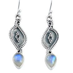 3.23cts natural rainbow moonstone 925 sterling silver dangle earrings p60199