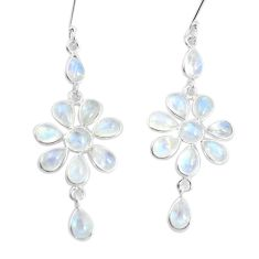 14.70cts natural rainbow moonstone 925 sterling silver dangle earrings p60533