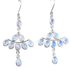 18.15cts natural rainbow moonstone 925 sterling silver dangle earrings p60548
