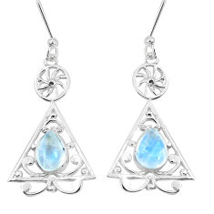 3.33cts natural rainbow moonstone 925 sterling silver dangle earrings p60740