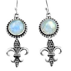 7.22cts natural rainbow moonstone 925 sterling silver dangle earrings p60786