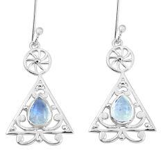 3.01cts natural rainbow moonstone 925 sterling silver dangle earrings p60865